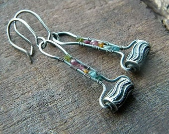 Raw Tourmaline earrings, sterling silver earrings