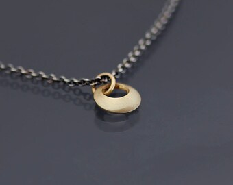 Simple Circle Necklace, simple gold pendant, tiny gold circle necklace, silver and 14k gold necklace, tiny circle pendant