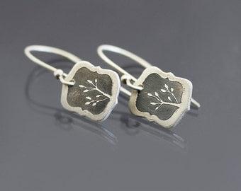 Tiny Branch Earrings, dainty silver earrings, botanical earrings, etched sterling silver dangle earrings, botanical jewelry