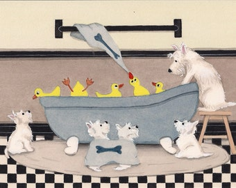 West highland terriers (westies) share tub with ducks bath time / Lynch signed folk art print