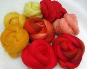 100% 20-21 Micron Merino Wool Roving Sampler - Red/Orange/Yellow Spinning, Felting, Crafts