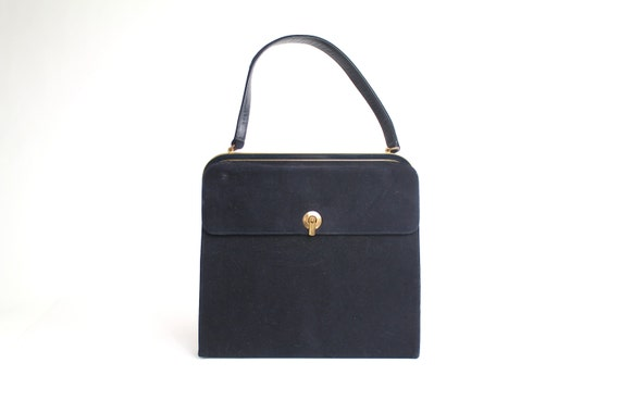 Coblentz structured bag | dark navy ultra suede purse | vintage classic handbag