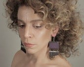 Leather earrings purple and brown statement earrings
