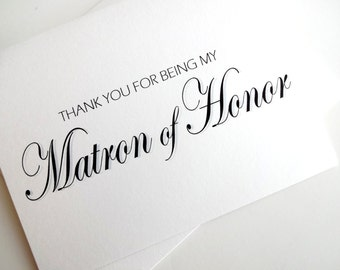 Thank You Matron of Honor Card