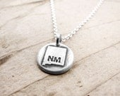 Tiny New Mexico necklace, silver state jewelry map pendant