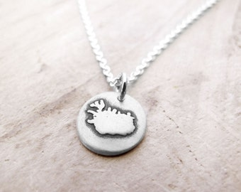 Tiny Iceland necklace, silver map jewelry
