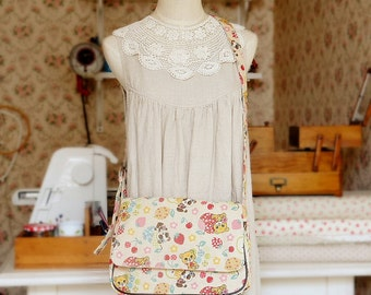 Japanese Kawaii Messenger Bag Handmade by Japanese Kokka Fabric