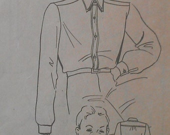 Vintage 40s Men's Placket Front Pointed Collar Button Front Shirt Sewing Pattern 344 14