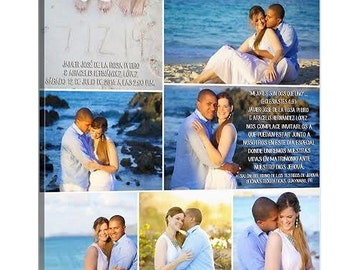 Personalized Pictures Gift Photo Collage Wedding Canvas Words Text Quote Sayings 20x20