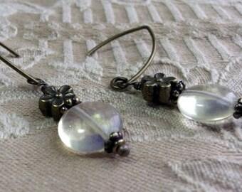 Antique Brass Yellow Opal Earrings