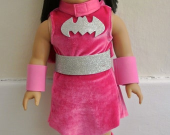 """Super Hero Type costume for 18"""" doll - possibly Batgirl parody costume"""