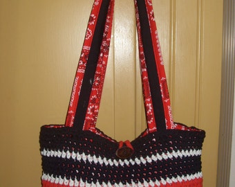 CLEARANCE SALE Ready to ship Black Red White bandana handbag tote gypsy boho market school shoulder bag t shirt crochet