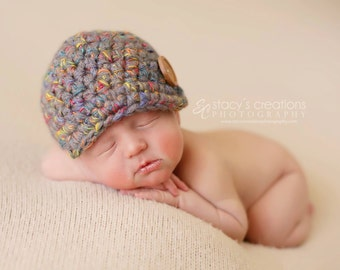 Boy Newsboy Hat, Newborn Baby Hat, Infant Baby Hat, Baby Boy Hat, Baby Girl Hat, Crochet Baby Hat, Baby Newsboy Hat, Infant Boy Hat, Blue