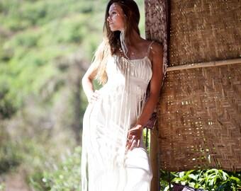 DIONYSES BOHEMIAN DRESS - Organic Wedding Bride Boho Hippie Long Elegant Prom Party Couture Burning man Maxi gift - Off white Ivory Cream