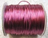 Dark Rose Satin Rattail Cord 1mm 6 yards for Macrame Kumihimo Knotting