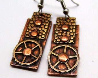 Steampunk jewelry mixed metal copper and brass earrings