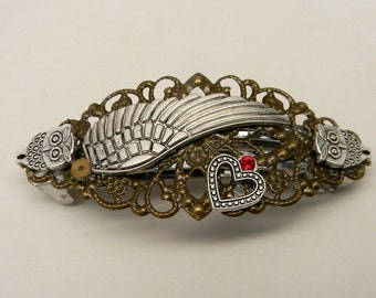 Steampunk jewelry, Steampunk angel wing hair barrette.