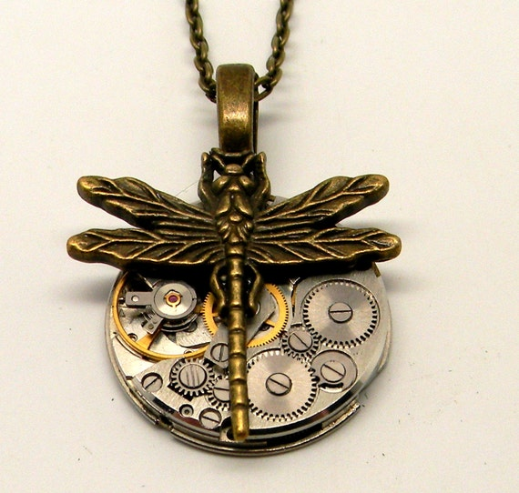 Steampunk watch with dragonfly pendant necklace. Steampunk