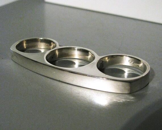 Women's Heavy 3 Finger Triple Ring in Solid Sterling Silver or 14K Gold