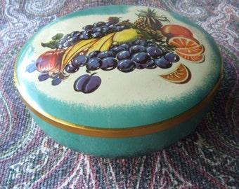 West German Candy Tin Fruit Bowl Motif