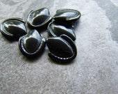 Vintage Cabochon-Vintage Art Deco Jet Black Unique Petal Shield Shaped Glass Cabochons-6 Stones
