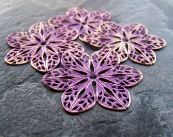 Purple Washed Patina Shabby Chic Gold Metal Filigree Flower with Cut Out Center Stamping-4