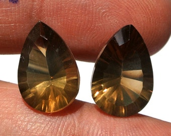 High Quality Genuine AAA Smoky Quartz Concave Cut Pear Briolettes Size 14x9.5mm 2 Pieces a Matched Pair.