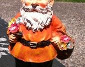Orange Garden Gnome Figurine with flowers