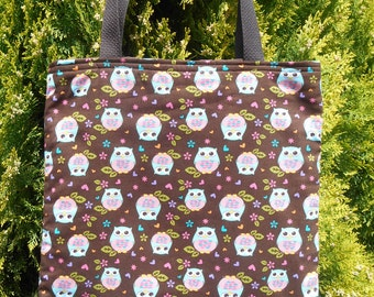Owls Owl Tote Bag Pastel Hearts Flowers Handmade Purse Limited