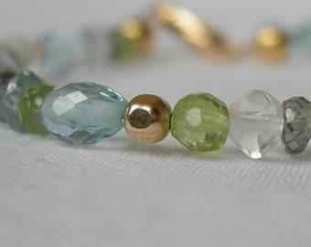 Blue Topaz Peridot Tourmaline Quartz Gold Bracelet