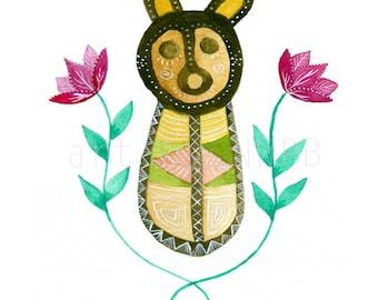 Taino symbol. Illustration. Art print