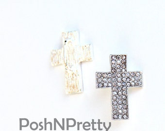 TWO 1 inch Cross Religious Crystal Slider - for 3/8 ribbon