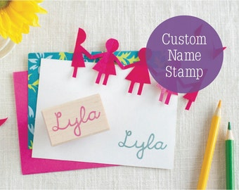 """Custom Hand Carved Children's Name Stamp (2"""") - Great 4 Art Projects Personalization Scrapbooks - Choice of Font or Child's Own Handwriting!"""