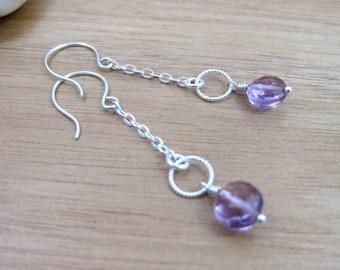 Amethyst Chain Earrings Amethyst Dangle Earrings Sterling Silver February Birthstone Earrings Purple Gemstone Birthstone Jewelry - Hyacinth