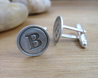 Personalized Initial Cuff Links Recycled Silver Letter Cuff Links Groomsmen Gift Fathers Day Classic Letter Cuff Links - Classic
