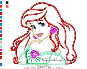 Ariel Applique Design Mermaid Princess Machine Embroidery Digital Download