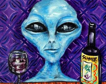 alien wine bar art Tile coaster gift  modern folk pop art JSCHMETZ