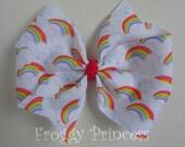 Rainbow Pinwheel Bow - No Slip Velvet Grip Hair Clip