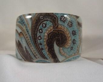 Blue/Brown Print Wide Cuff Bracelet, Accessories (CCB200)