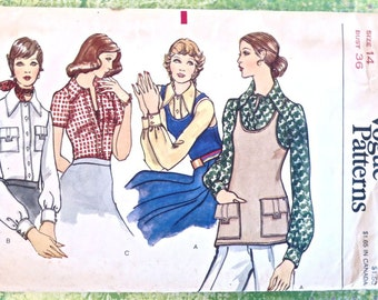 Vogue 8385 - Vintage 1970s Womens Knit  Blouse Pattern with Tank Top Vest