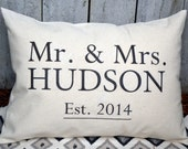 Cotton anniversary, Personalized Mr. & Mrs. pillow, housewarming, wedding gift, decorative pillow, Mother's Day, 2nd Anniversary -Hudson-