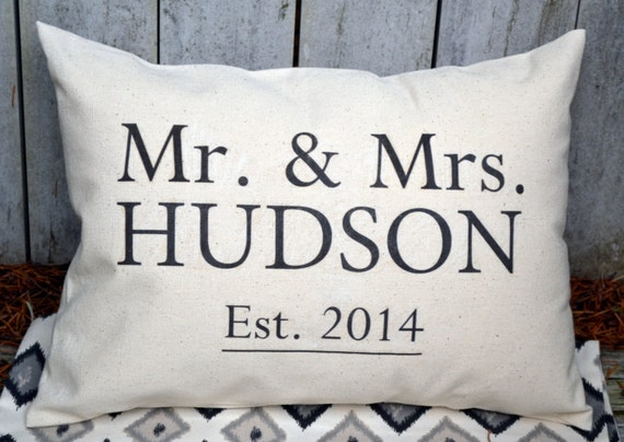Cotton Gifts For 2nd Wedding Anniversary: Cotton Anniversary Personalized Mr. & Mrs. Pillow