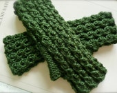 Forest Green Fingerless Gloves Warm Soft Hand Knit Ready to Ship