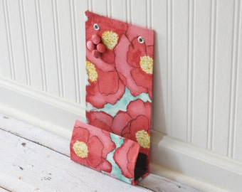 Locker size small Message Center Magnet Board with Pocket - Ready to Ship - 6x12 inches - Big Poppies