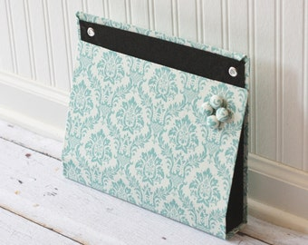 Large Wall Organizer Pocket, Magnet Board, File and Mail Holder - Blue Damask on Linen White Fabric