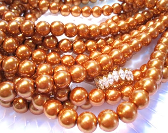 50% Off 1 Strand, 40 pcs 10mm Gold Glass Pearls, Gold pearl beads, #4