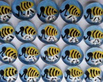 Hand painted glass gems mosaic tile party favors  BEES on blue  BUMBLE BEE