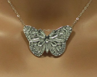 Fine silver butterfly pendant and sterling silver chain, gift