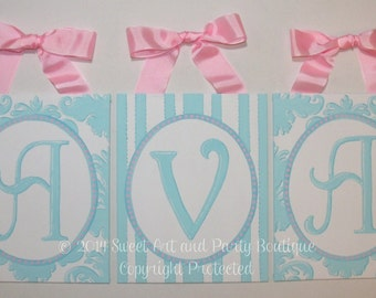Aqua Blue White Pink dots damask stripes custom canvas letter name sign wall monogram initials art personalized chldren decor painting baby
