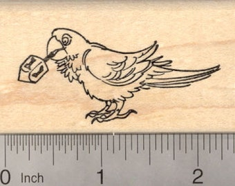 Hanukkah Parrot Bird with Dreidel Rubber Stamp, Chanukah Festival of Lights H19707 Wood Mounted